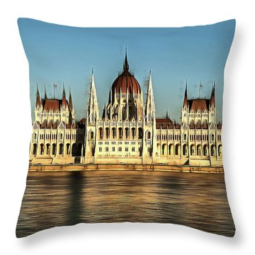 Hungarian National Parliament Throw Pillow