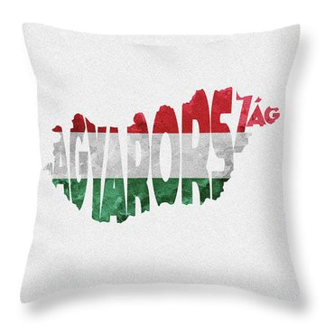 Hungary Typographic Map Flag Throw Pillow