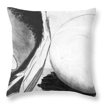 Hunger Mural Throw Pillow by Laura Brightwood
