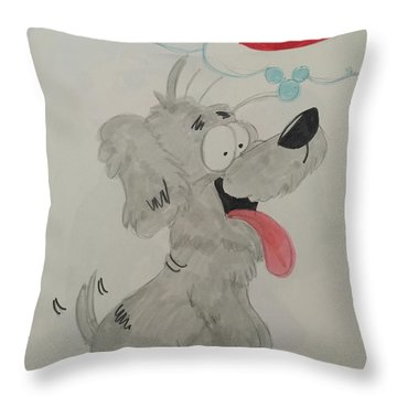Hungry Dog Throw Pillow