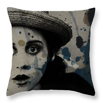 Throw Pillow featuring the mixed media Hungry Eyes by Paul Lovering