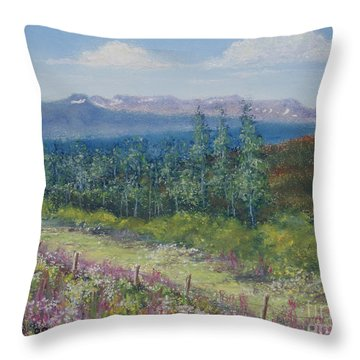 Throw Pillow featuring the painting Summer Flowers On Hungry Hill by Stanza Widen