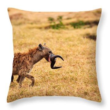 Hungry Hyena Throw Pillow by Adam Romanowicz