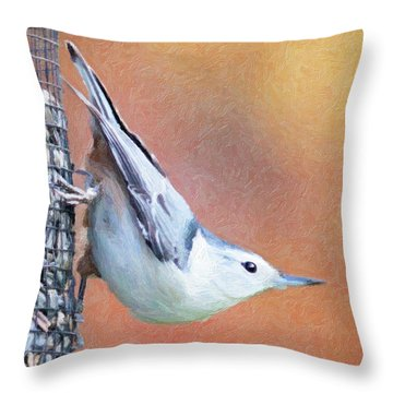 Hungry Nuthatch Throw Pillow