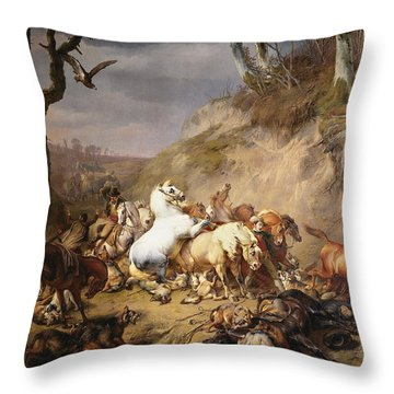 Hungry Wolves Attacking A Party Of Riders, 1836 Throw Pillow