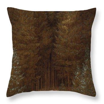 Hunter In The Forest  Throw Pillow by Caspar David Friedrich
