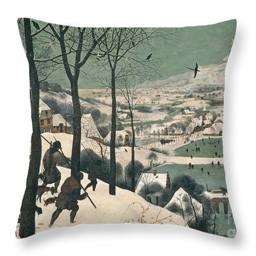 Hunters In The Snow Throw Pillow by Pieter the Elder Bruegel