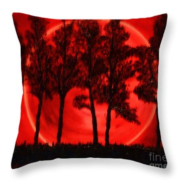 Throw Pillow featuring the painting Hunters Moon by Lori Jacobus-Crawford