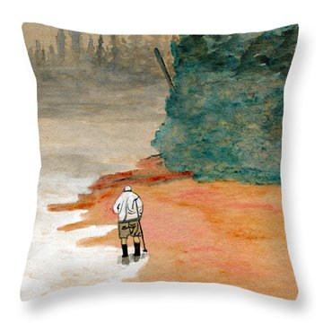 Hunting Agates On A Foggy Shore Throw Pillow by R Kyllo