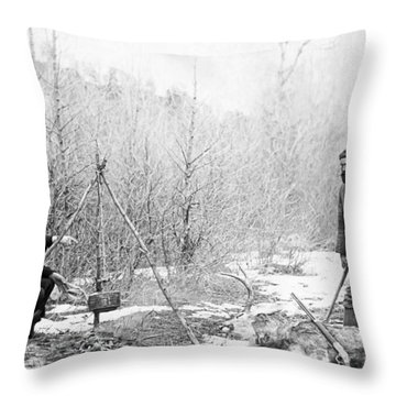 Hunting Camp Winter 1887-88 -- South Dakota Throw Pillow by Daniel Hagerman