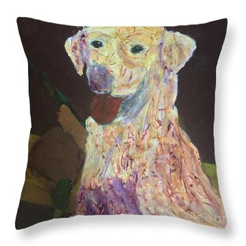 Throw Pillow featuring the painting Hunting Dog by Donald J Ryker III