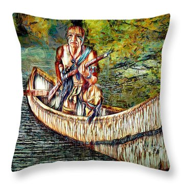 Throw Pillow featuring the digital art Hunting For Food by Pennie McCracken