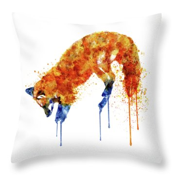 Hunting Fox  Throw Pillow by Marian Voicu