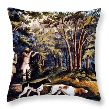 Hunting: Woodcock, 1852 Throw Pillow