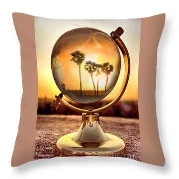 Huntington Beach Globe Throw Pillow