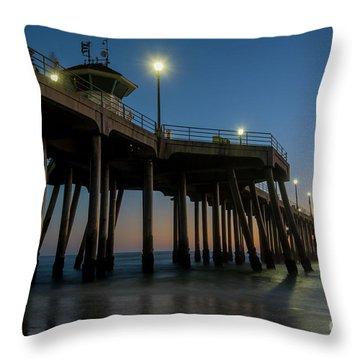 Huntington Beach Pier At Dusk Throw Pillow