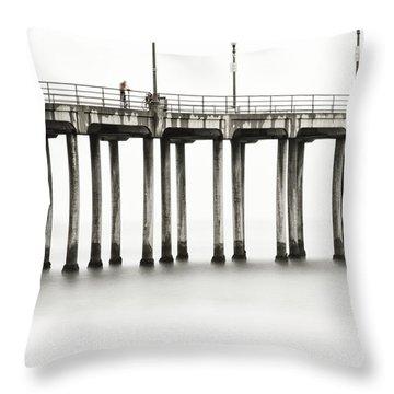 Throw Pillow featuring the photograph Huntington Beach Pier by Bryan Keil