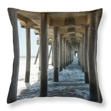 Throw Pillow featuring the photograph Huntington Beach Pier From Below by Ana V Ramirez
