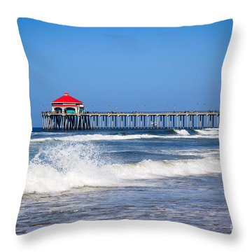 Huntington Beach Pier Photo Throw Pillow by Paul Velgos