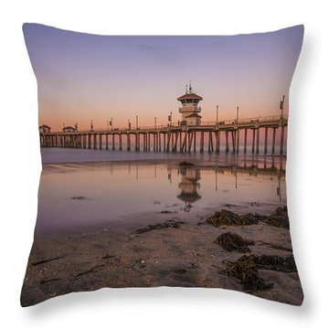 Throw Pillow featuring the photograph Huntington Beach Pier by Sean Foster