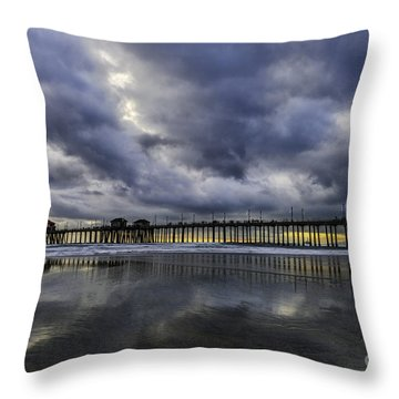 Huntington Beach Pier Sunset With Reflections Throw Pillow