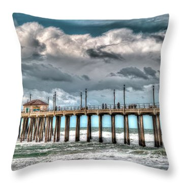 Throw Pillow featuring the photograph Huntington Beach Winter 2017 by Jim Carrell