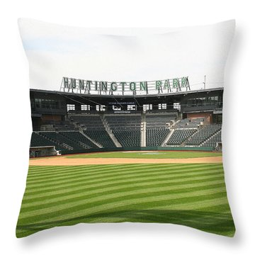 Huntington Park Baseball Field Throw Pillow by Laurel Talabere