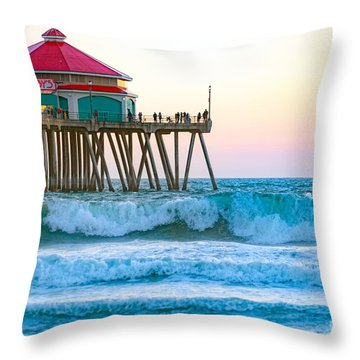 Throw Pillow featuring the photograph Huntington Pier by Anthony Baatz