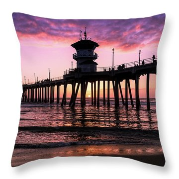 Huntington Pier At Sunset 2 Throw Pillow