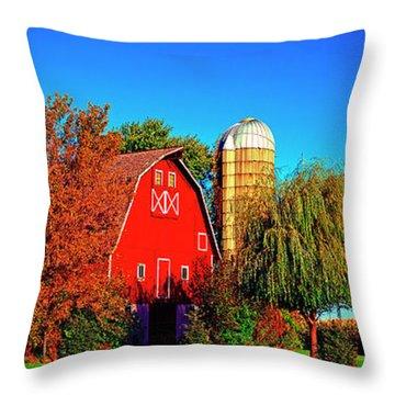 Huntley Road Barn Early Morning Throw Pillow