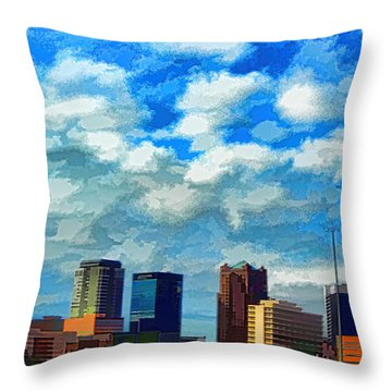 Huntsville Alabama Skyline Abstract Art Throw Pillow