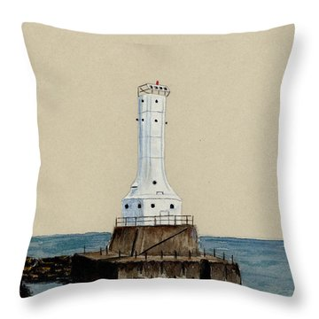 Huron Harbor Lighthouse Throw Pillow by Michael Vigliotti