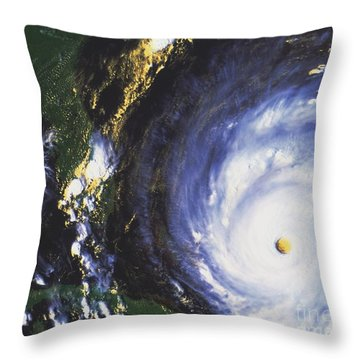 Hurricane Floyd Throw Pillow by NASA / Science Source