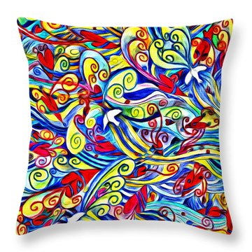 Hurricane Of Doves And Hearts Throw Pillow
