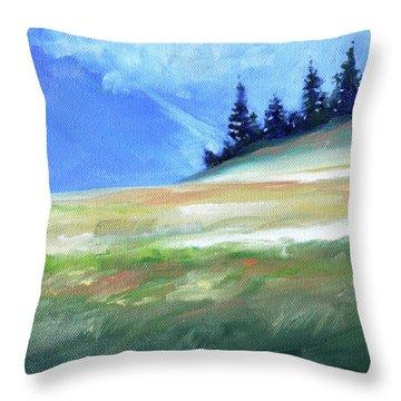 Throw Pillow featuring the painting Hurricane Ridge by Nancy Merkle