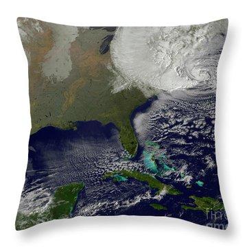 Hurricane Sandy Battering The United Throw Pillow by Stocktrek Images