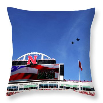 Husker Memorial Stadium Air Force Fly Over Throw Pillow
