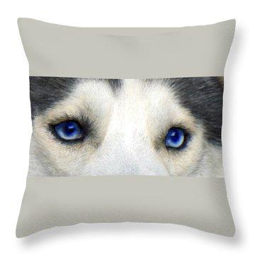Husky Eyes Throw Pillow by Jane Schnetlage