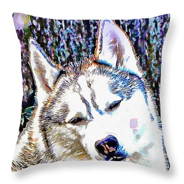 Husky Portrait Throw Pillow