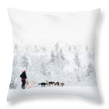 Throw Pillow featuring the photograph Husky Safari by Delphimages Photo Creations