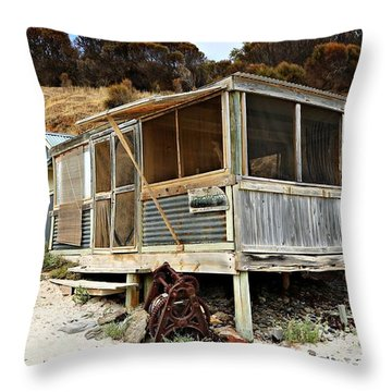 Throw Pillow featuring the photograph Hut At Western River Cove by Stephen Mitchell
