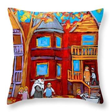 Hutchison Street Sabbath In Montreal Throw Pillow by Carole Spandau