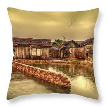 Throw Pillow featuring the photograph Huts 2 by Charuhas Images