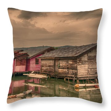 Throw Pillow featuring the photograph Huts In South Sulawesi by Charuhas Images