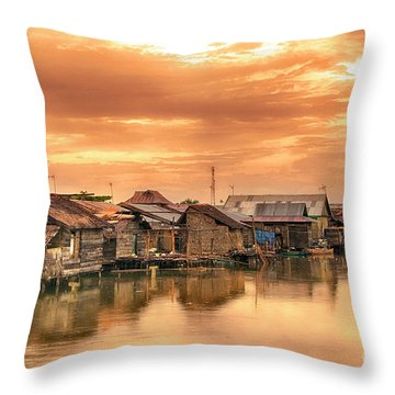Throw Pillow featuring the photograph Huts On Water by Charuhas Images