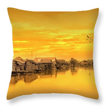 Throw Pillow featuring the photograph Huts Yellow by Charuhas Images