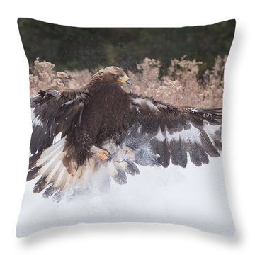 Hunting In The Snow Throw Pillow