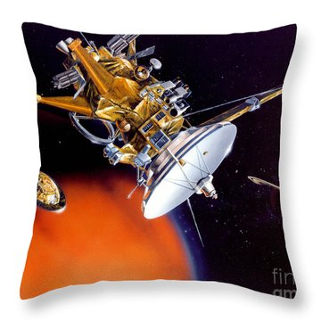Huygens Probe Separating Throw Pillow by NASA and Photo Researchers