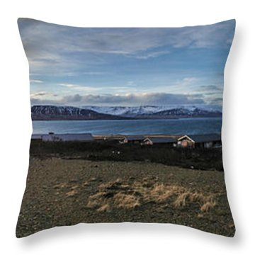 Hvalfjorour Panorama Throw Pillow