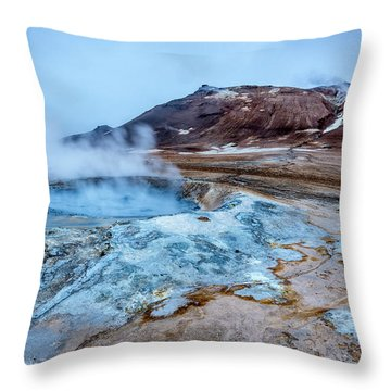 Hverir Steam Vents In Iceland Throw Pillow by Joe Belanger